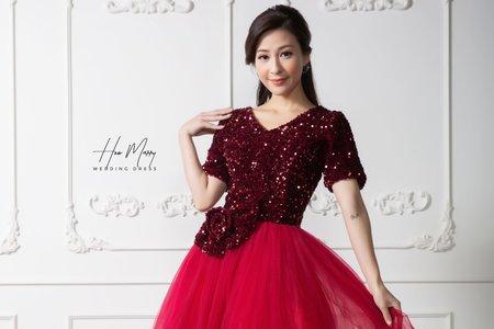 紅色有袖短禮服