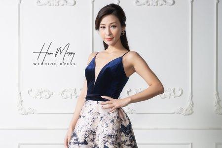 藍白無袖短禮服