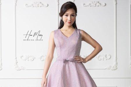 淺粉無袖短禮服