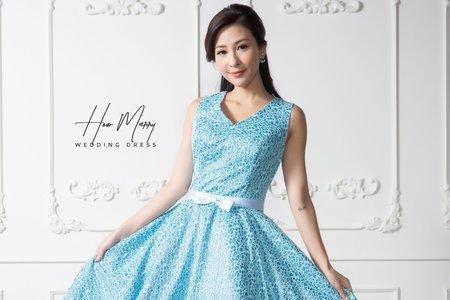 亮藍色無袖短禮服