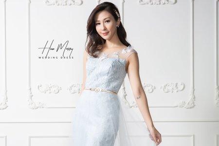 淺天藍無袖短禮服
