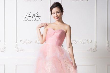 粉色無袖長禮服