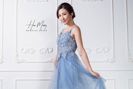 藍色無袖長禮服