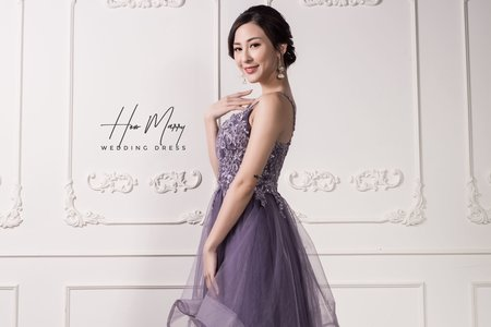 紫色無袖長禮服