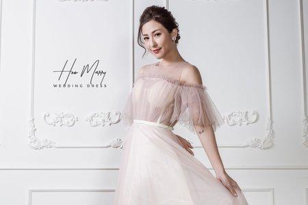 粉色有袖短禮服