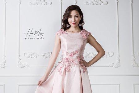 淡粉無袖短禮服