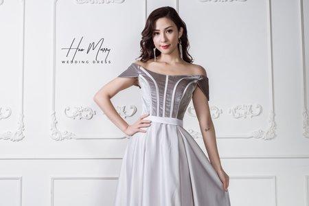 淺紫白長禮服