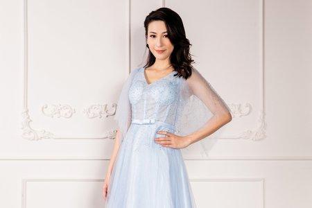 奢華水鑽藍色禮服