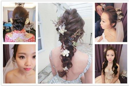 新秘RITA|新娘秘書|bride-pin|編髮|裙掛造型|中式|浪漫捲髮|側邊捲髮|丸子頭|乾燥花不凋花