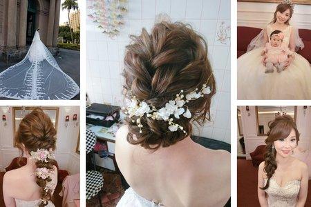 新秘RITA|新娘秘書|bride-怡君|好媳婦髮型|公主頭|線條感|乾燥花不凋花|側邊編髮