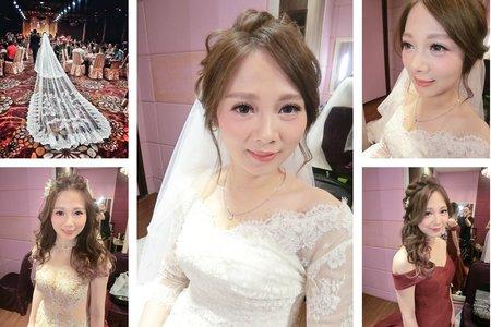 新秘RITA|新娘秘書|bride-涵涵|浪漫捲髮|乾燥花|不凋花|盤髮|蕾絲長頭紗