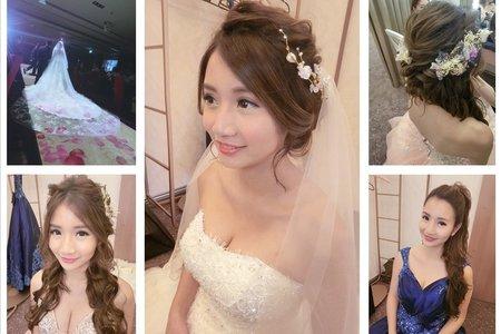 新秘RITA|新娘秘書|bride-小玉|盤髮|高馬尾|浪漫捲髮|蕾絲長頭紗|皇冠|乾燥花不凋花
