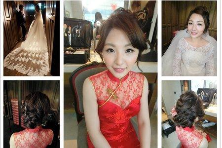 新秘RITA|新娘秘書|bride-rannie|好媳婦髮型|復古造型|旗袍造型|蕾絲長頭紗|低馬尾