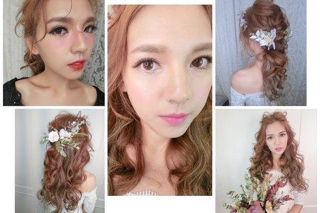 新秘RITA|新娘秘書|新娘造型|盤髮|浪漫捲髮|不凋花乾燥花
