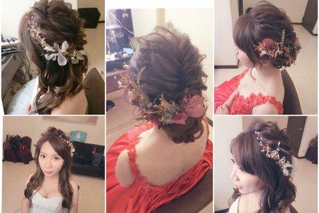 新秘RITA|新娘秘書|brid-小飛|訂婚|好媳婦髮型|浪漫捲髮|不凋花|乾燥花