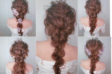 新秘rita|新娘秘書|新娘造型|低馬尾|馬尾造型|編髮|浪漫捲髮|乾燥花不凋花