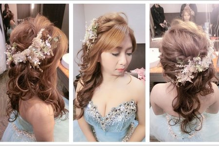 新秘RITA|新娘秘書|bride-小芸|蕾絲長頭紗|好媳婦髮型|低馬尾|編髮|側邊捲髮