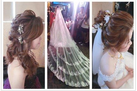 新秘RITA|新娘秘書|bride-佩倛|丸子頭|不凋花花飾|髮絲感|浪漫捲髮|編髮