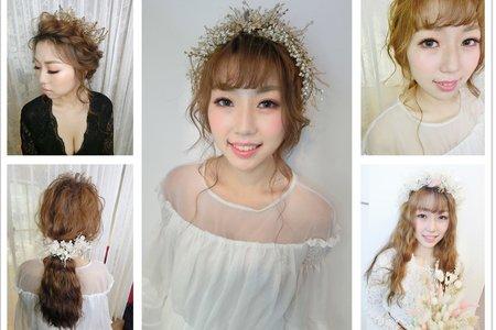 新秘RIT|新娘秘書|新娘造型|低馬尾|女王風|日系捲髮|華麗皇冠