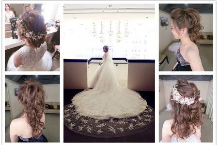 新秘RITA|新娘秘書|bride-君怡|盤髮|蕾絲長頭紗|浪漫捲髮|不凋花乾燥花|高馬尾