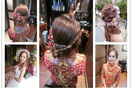 新秘RITA|新娘秘書|bride-chole|群掛|中式造型|浪漫捲髮|不凋花乾燥花