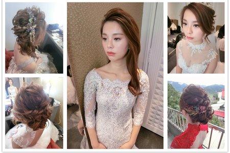 新秘RITA|新娘秘書|bride-軒|油頭|側邊編髮|乾燥花不凋花|蕾絲長頭紗|髮絲感