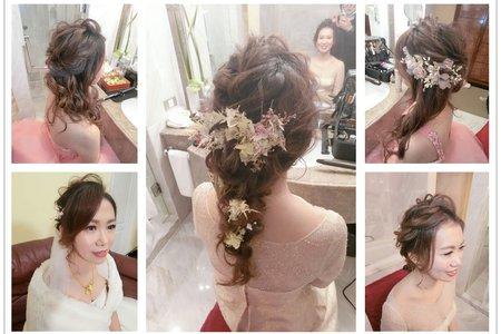 新秘rita|新娘秘書|bride-蘊霞|低馬尾|乾燥花|盤髮|大眼妝|浪漫捲髮