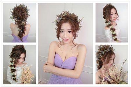 新娘造型|編髮|不凋花花飾|低馬尾|球球造型|單眼皮變雙眼皮