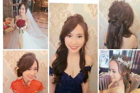 新秘rita|新娘秘書|bride-佳純|中式造型|低馬尾|蕾絲長頭紗|浪漫捲髮