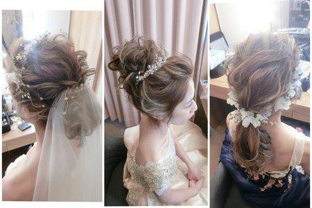 新秘rita|新娘秘書|bride-joe|丸子頭|低馬尾|線條感|盤髮