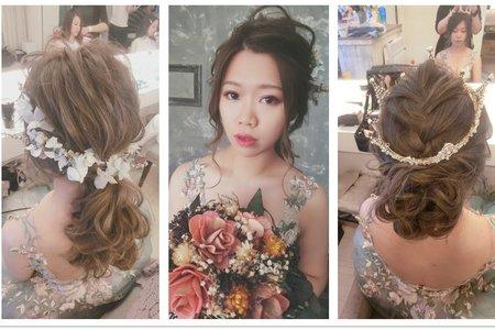 新秘RITA|新娘秘書|bride-念念|盤髮|線條感|大皇冠|髮絲感|低馬尾|日系|乾燥花不凋花|花環|乾燥花|自助婚紗