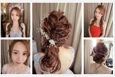 新秘rita|新娘秘書|bride-renny|好媳婦髮型|側邊捲髮|浪漫捲髮|蕾絲長頭紗