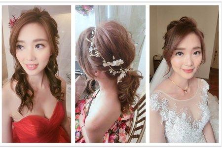 新秘rita|新娘秘書|bride-annie|浪漫捲髮|自然眼妝|蕾絲長頭紗|低馬尾