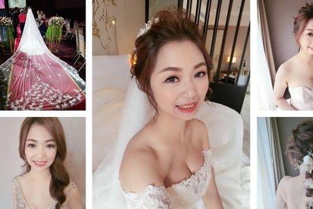 新秘rita|新娘秘書|bride-宇璐|波浪捲髮|球球造型|乾燥花不凋花花飾|盤髮|線條感