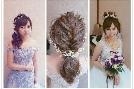 新秘rita|新娘秘書|bride-雁兒|白紗造型|低馬尾|乾燥花不凋花花飾|丸子頭|指定款髮型