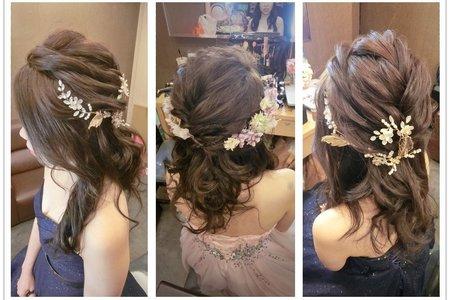 新秘rita|新娘秘書|bride-臻顏|編髮|側邊造型|新娘髮型|乾燥花