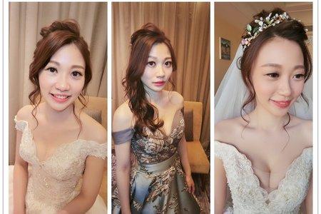 新秘rita|新娘秘書|bride-cc|白紗造型|低馬尾|側邊捲髮|復古|長頭紗