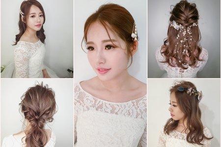 新秘rita|新娘秘書|新娘妝髮|優雅|浪漫捲髮|公主頭|日系|低馬尾
