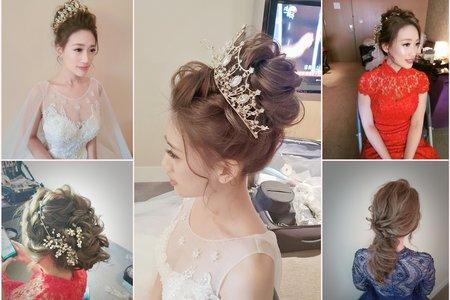 新秘rita|新娘秘書|bride-winna|丸子頭|低馬尾|指定款髮型|線條感|新娘造型