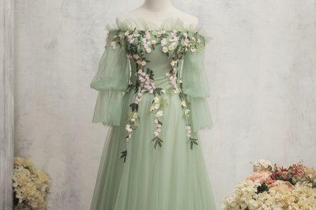 蘋果綠立體花朵禮服