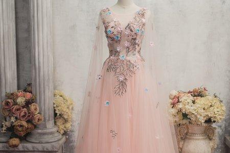 微透膚粉色禮服