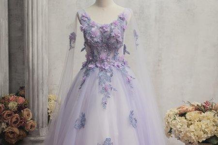 紫色長袖立體花朵禮服