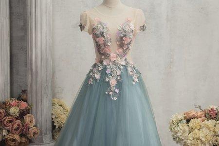 雙色鑲花禮服