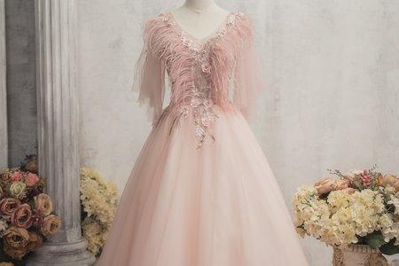 小V領鑲花粉色禮服