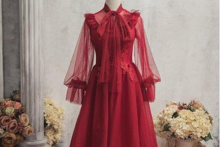 典雅酒紅禮服