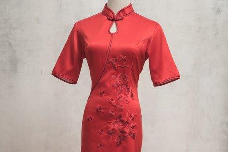 立體花朵短袖旗袍