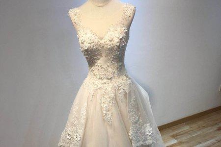立體珠鑽透膚婚紗