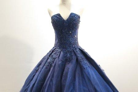 經典款寶藍色蓬裙禮服