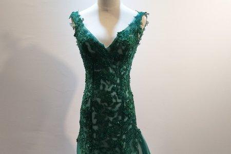 華麗深V綠色魚尾晚禮服