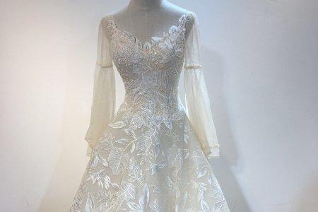 長袖復古赫本白色禮服